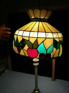 Tiffany Style Stained Slag Glass Hanging Lamp Shade Embossed Fruit Design Nice