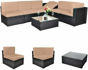 Outdoor All weather 7 Pieces Patio Furniture Pe Rattan Wicker Sectional Sofa Con