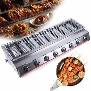 Commercial 8burners Lpg Gas Bbq Grill Cooker Grill 2800pa Smokeless Picnic Grill