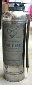 Vintage Elkhart Brass Stainless Steel Fire Extinguisher 24 Empty Untested fs