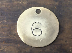 Number 6 Tag Brass Metal Vintage Numbered Keychain Stamped Cattle Tag Mining Cow