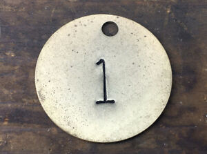 Number 1 Tag Brass Metal Vintage Numbered Keychain Stamped Cattle Tag Mining Cow