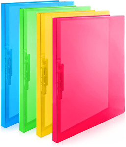Punchless Binders With Clamp Pack Of 4 Bright Color Folders Clips Include Labels