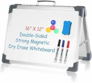 Small Dry Erase White Board 16 X 12 Portable Foldable Magnetic Double sided pe