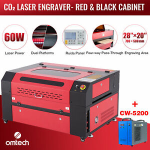 Omtech 60w 28 x20 Co2 Laser Engraver Cutter Ruida With Cw 5200 Water Chiller