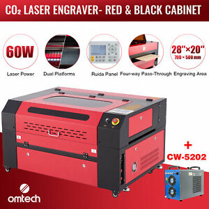 Omtech 60w 28 x20 Co2 Laser Engraver Cutter Ruida With Cw 5202 Water Chiller