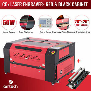 Omtech 60w 28 x20 Co2 Laser Engraver Cutter Engraving Ruida With Rotary Axis A