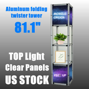 Usa 81 1 Square Portable Aluminum Spiral Tower Display Case For Store Display