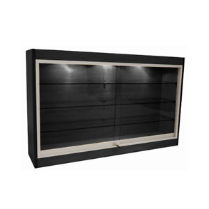 Black Wall Mounted Display Showcase With Glass Doors Shelves Lights Lock
