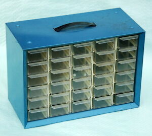 Vintage Storage Cabinet Akro mills A m Metal Plastic 30 Drawers Small Parts Blue