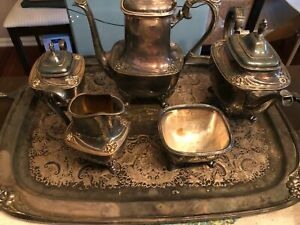 Daffodil By 1847 Rogers Silverplate 6 Pc Tea Coffee Service W Tray Vintage