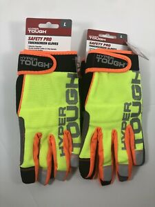Lot Of 2 Pairs Hyper Tough Safety Pro Touchscreen Gloves Size L