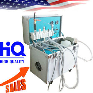 Portable Dental Delivery Unit With Air Compressor Handpiece Kit 2 Hole Suction