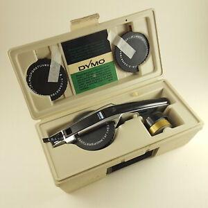 Vintage Dymo 1550 Tapewriter Label Maker In Case With 3 Wheels Tape free Ship