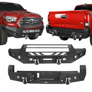 Texture Front Or Rear Bumper W Winch Plate For Toyota Tacoma 2016 2021 Black