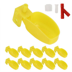 10pcs Plastic Automatic Cup Water Feeder Drinker For Quail Chicken Bird Drinking