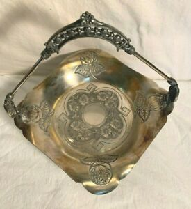 Vintage Victorian James Tufts 2755 Quadruple Silver Plate Footed Console Bowl