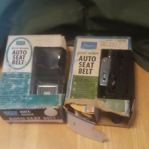 Vintage 1962 Or Later Nos Sears Auto Replacement Seat Belts Black 64071 64101