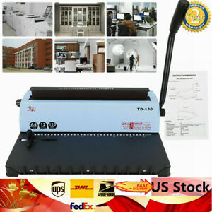 New 34 Square Holes Manual Spiral Coil Binding Machine A4 Paper Solid Handle