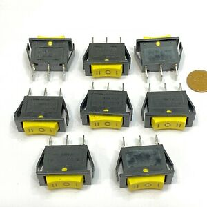 8 Pieces Yellow Rocker Switch Spdt On Off On Kcd3 103 20a 125vac 3pin E23