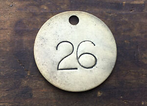 Number 26 Tag Brass Metal Numbered Keychain Stamped Cattle Tag Mining Cow Fob