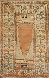 Antique Geometric Turkish Anatolian Oriental Area Rug Wool Hand Knotted 3x5 Ft