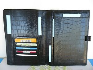 Franklin Covey wire Bound Black Croc Leather Notepad Folio Cover Open 9 5 x7