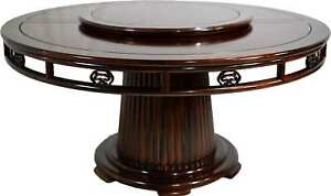 Vintage Chinoiserie Lazy Susan Rosewood Round Fluted Pedestal Dining Table