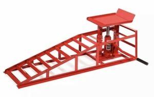 Auto Car Truck Service Ramp Lifts Heavy Duty Hydraulic Lift Repair Frame Red