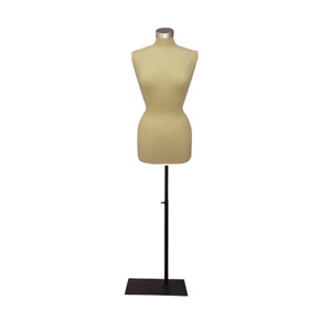 Female Dress Form Pinnable Mannequin Torso Size 10 12 With Black Metal Base