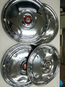 1955 56 Ford Fairlane Thunderbird Hubcaps Wheel Covers Vintage Set Of 4