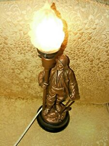 Antiquelamp Metal French Sailor Sculpture Spelter Figure Table Lamp Flame Shade