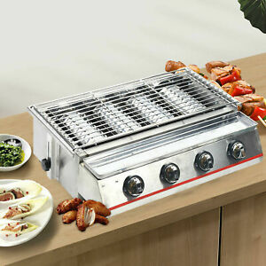 Commercial 4 Burner Lpg Gas Bbq Grill Outdoor Roaster Grill Smokeless Usa Stock