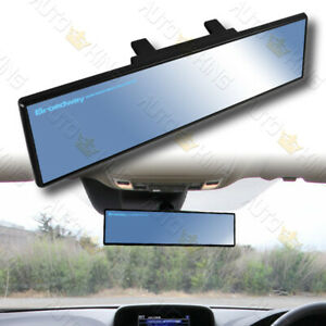 Universal Flat 240mm Wide Broadway Blue Tint Interior Clip On Rear View Mirror
