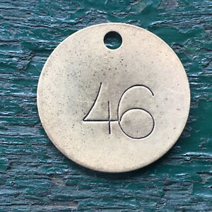 Number 46 Tag Brass Metal Numbered Keychain Stamped Cattle Tag Mining Cow Fob