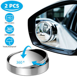 2x Car Blind Spot Mirrors Adjustable Round Hd Glass Convex Side Rear View Mirror