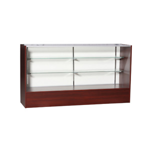 Cherry Wood Full Vision Display 70 Inch Showcase With Adjustable Shelving