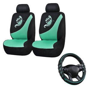 Car Seat Covers Mesh Set Universal Mint Green Black Steering Wheel Cover Leather
