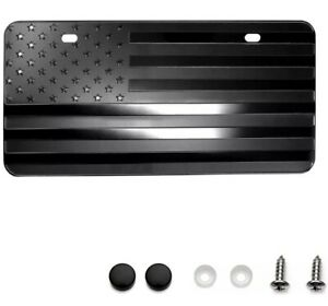 3d Embossed Us American Flag Car License Plate Tag Cover Black Universal