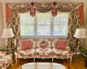 Hand Painted Complete Living Set Sofa Loveseat Drapes And Tables