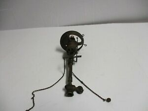 Antique Victorian Gas Copper Brass Light Fixture Hanging Wall Sconce