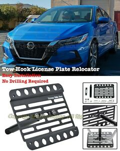 For 20 Up Nissan Sentra Front Tow Hook License Plate Mount Relocator Bracket
