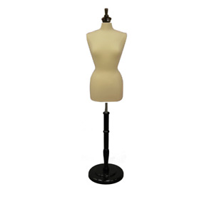 Female Dress Form Pinnable Mannequin Torso Size 10 12 With Round Black Wood Base