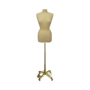 Female Dress Form Pinnable Mannequin Torso Size 10 12 With Gold Wheeled Base