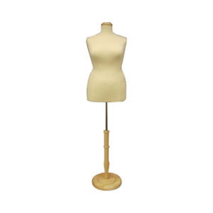 Female Dress Form Pinnable Foam Mannequin Torso Size 18 20 With Round Wood Base