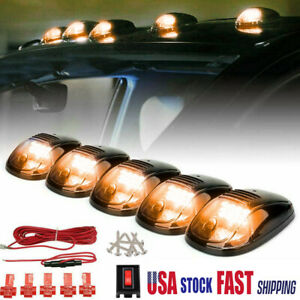 5 Smoke Cab Roof Marker Lights Yellow For Dodge Ram 2500 3500 4500 2003 2019