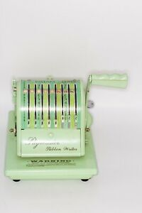 Vintage Paymaster Ribbon Writer 8000 Series Check Writer With Key Mint Green