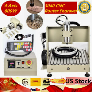4 Axis 800w 3040 Cnc Router Engraver Dill Milling Engraving Machine Controller