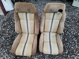 1984 Pontiac Fiero Front Seats Driver And Passenger Brown Multicolor