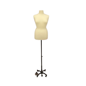 Female Dress Form Pinnable Mannequin Torso Size 18 20 With Black Wheeled Base